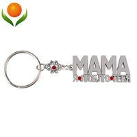 Wholesale I Favor - Wholesale-birthday Metal gift souvenirs,MAMA pendant,Super milk mom Russian letters key holder or Keychain for Mom, I love you