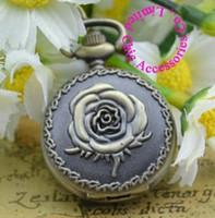 Wholesale Mini Bronze Flower Pocket Watch - Wholesale-wholesale buyer price good quality fashion girl lady retro vintage bronze mini rose flower pocket watch necklace hour