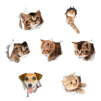 Waterproof Cat Dog 3D Wall Sticker Hole View Banheiro Toilet Living Room Home Decor Decal Poster Background Wall Stickers