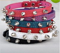 Wholesale Spike Studded Collars - Wholesale-Free Shipping Chic Pet Cat Dog Rivet Collar Spiked Studded Strap Collars Buckle Neck PU Leather Pet Products