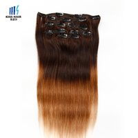 Wholesale European Hair Clips - Full Head Clip in Human Hair Extensions Two Tone Ombre T4 30 Brown Auburn Silky Straight High Quality Virgin Remy Hair