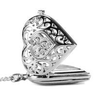 Wholesale Vintage Heart Shaped Pocket Watches - Wholesale- Fashion Silver Heart Shape Long Necklace Pendant Women Girl Vintage Quartz Pocket Watch Hollow Steampunk Lover's Gift