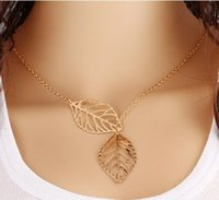 Wholesale Small Leaves Plants - Necklace Pendant Women's gold silver jewelry length 48cm tail length 5cm two small leaves cute accessories