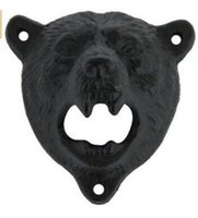 Wholesale Black Bear Wall - New Vintage Style Cast Iron Bear Design Beer Soda Top Opener Wall Mounted Glass Bottle Cap Opener Durable Kitchen Bar Openers Tools