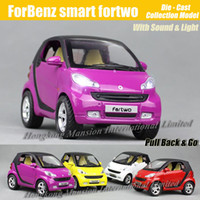 Wholesale Smart Car Fortwo - 1:18 Scale Diecast Alloy Metal Car Model For ForBenz smart fortwo Collection Model Pull Back Toys Car With Sound&Light
