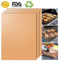 Wholesale Wholesale Kitchen Mats - Barbecue Grilling Liner BBQ Copper Grill Mat Portable Non-stick and Reusable 33*40CM 0.2MM Black Gold Oven Hotplate Mats 170608