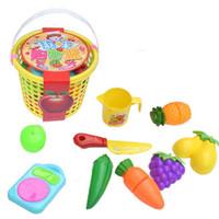Discount puzzle toy set - Children's Puzzle Cut Fruit Toys Simulation Vegetables & Fruits Cheshire Kitchen Kids Cooking Basket Set free shipping