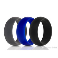 Wholesale Ring Comfortable - Silicone Wedding Ring Flexible Hypoallergenic Silicone O-ring Wedding Band Comfortable Fit Lightweigh Ring for Men Black White Gray
