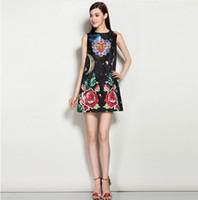 outer space dress - Newest Fashion Runway Summer Dress Women s Elegant Sleeveless outer space Printed Flower Beading Mini Short Vintage Dress