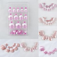Vente en gros Mixed 12 Sets / Lot (24pcs / set) Full Cover Artificial False Nails Foot Pedicure DIY Pre-designed French Toe Nail Art Tips