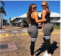 Wholesale Workout Pants For Women - 2017 New Women Leggings For Female High Waist Activity Pants Legging Workout Leggings Bodybuilding Clothes Body Shapers Black Size S-XL