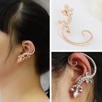 Wholesale Good Earrings For Sale - Good quality SALE Fashion Jewelry female Crystal Gecko Stud Earring For Women hoop statement earrings Christmas Gift