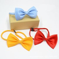 Wholesale Solid Color Brown Bow Ties - Solid color polyester silk overalls accessories collar flower bow tie children bow flower