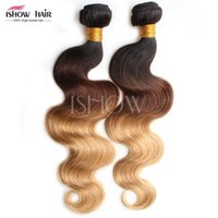 Wholesale Hair Extensions Curtain - 6A body three-color gradient 1B   4 27 snake hair curtain Hair Extensions Brazilian Virgin Hair Body Wave, Unprocessed Brazilian Remy Human