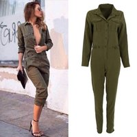 Großhandel-Frauen Overall Sexy Bodycon Party Revers Langärmelige Playsuit Hose Stylish Army Green Spielanzug