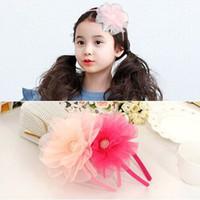 Wholesale Korean Large Hair Bands - South Korean children hair Princess headband baby girls headband large flower girl Princess headdress flower hairpin