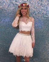 Wholesale Homecoming Prom Dresses Stones - 2017 New Two Pieces Lace Long Sleeves A Line Short Homecoming Dresses Beaded Stones Sheer Top Mini Party Short Cocktail Prom Dresses