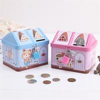 Wholesale Tin Piggy Banks - Cartoon Small Tin House Cute Piggy Bank Money Box Money-boxes Tinplate Saving Bank Best Gift for Children Kids LZ0429