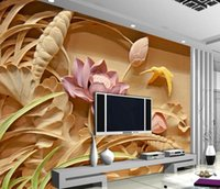 Wholesale Lotus Paper Wallpaper - Wholesale - Wholesale-Wood carving lotus mural TV backdrop 3d wallpaper flower 3d wallpaper living room Home Decoration
