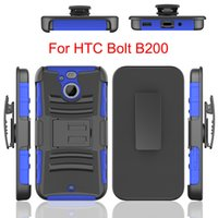 Wholesale Durable Plastic Clips - For HTC Bolt 10 Evo B200 Hybrid Armor Case Heavy Duty Durable Robot Shockproof 3 in 1 belt Clip Cover