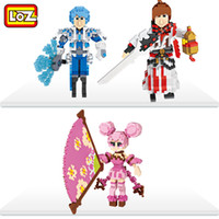 Wholesale Chinese Action Figures - 3pcs lot Chinese Style LOZ 800+ pcs Building Blocks Swordsman Libai Diamond Microblock Toys Cute Ancient Women Action Figures 9765-9767