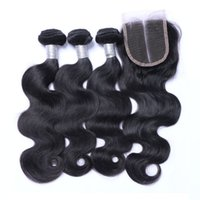 Wholesale Brazilian Virgin Human Hair Weaves With Closure Malaysian Indian Cambodian Peruvian Body Wave Virgin Hair Bundles And Lace Closure x4Size