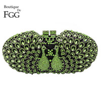 Wholesale Hollowed Bags - Wholesale- Dazzling Green Emerald Diamonds Crystal Women Kiss Peacock Hollow Out Evening Clutch Purse Metal Clutches Handbags Shoulder Bags