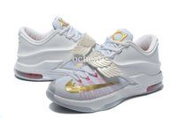 Wholesale Pearl Cotton Size 12 - Free Shipping KD 7 Aunt Pearl Basketball Shoes Mens KD 7 DKS white Sneakers Size us 7-12