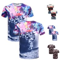 Wholesale Lions Shirt Xl - 3D Printing Fashion Animal Creative T-Shirt Lightning smoke lion lizard water droplets printed short sleeve T Shirt M-3XL TX91-R3
