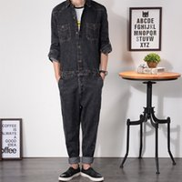Wholesale Loose Fit Jumpsuit - Wholesale-Mens Denim Jumpsuit Overalls Full Sleeve Loose Fit Bootcut Hip-Pop Jeans Zipper Hip Casual Pants Jumpsuits Working Clothes MDB03
