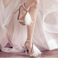 Wholesale Sexy Red Banded Dress - 2016 New Diamond Hair women shoes Sexy High-heeled Sandals Wedding Shoes Gladiator Shiny Dance Shoes T Strap Crystal Woman