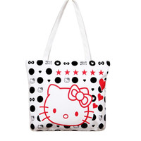 Wholesale Large Tote Patterns - Wholesale-Fashion Large Space Women Canvas Handbag Zipper Shopping Shoulder Bag Paris Hello Kitty Pattern Girls Beach Bookbag Casual Tote