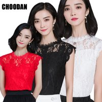 Wholesale Elegant Lace Blouses For Ladies - HOT SALE Lace Top Women Sleeveless Summer Tops 2017 New Korean Style Elegant Hollow Out Casual Lace Blouses Shirts For Ladies
