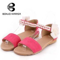 Wholesale Shoe Less Sandals - Wholesale-Big size 34-43 Women Flower Sandals Fashion Flat Heels Beaded Ankle Straps Open Toe Summer Shoes Less Platform Sandals