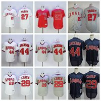 Wholesale Anaheim Angels Jersey Black - 2017 Los Angeles Angels of Anaheim 27 Mike Trout Baseball Jerseys Throwback 44 Reggie Jackson 29 Rod Carew Cooperstown Retro Stitched Jersey