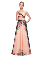 Wholesale Mix Flower Pictures - 2017 Robe De Soiree Chiffon Flower Printed Evening Dresses Mixed Style Floor Length Party Gown Formal Prom Dress