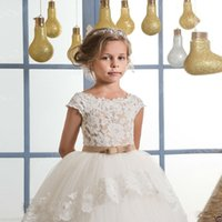 Wholesale Tulle Wrap Flower Girl Dress - Vintage Lace Puffy Flower Girl Dresses For Weddings Ivory Tulle Champagne Bow Overskirts Floor Length First Communion Dress 2017