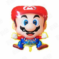 Wholesale Wholesale Mario Bros Birthday - 50pcs 60*45cm balloons Super Mario Cartoon toys design Mario Bros foil ballons helium globos birthday party decoration