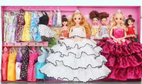 Wholesale Kids Fashion Wedding Dresses - Fairy Tale Kids Princess Doll and Fashions Wedding Dress Gift Set Clothes Sweetheart Baby Children Toys Gift Box