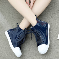 Wholesale Lace Up Rain Boots Women - New Fashion Women Lace-up Rain Boots Female Non-slip Ankle Rainboots Candy Colors Woman Water Shoes PVC Wellies ZJ44