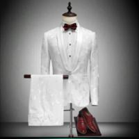 damat takım elbise tasarımları toptan satış-2018 Şal Yaka Slim Fit Damat Smokin Kırmızı / Beyaz / Siyah Erkekler Suits Son Pantolon Ceket Tasarımları Erkekler Düğün Erkekler Için Suits Balo Smokin ceket pantolon
