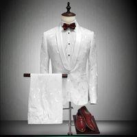 Wholesale Tuxedo Designs - 2018 Shawl Lapel Slim Fit Groom Tuxedos Red White Black Men Suits Latest Coat Pant Designs Men Wedding Suits For Men Prom Tuxedo jacket pant