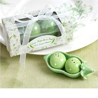 Wholesale Salt Pepper Shaker Pea - free shipping Bean ceramic salt and pepper shakers wedding favors gifts peas salt pepper shakers Two peas in a pod WA1785