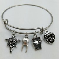 Wholesale Silver Tooth Bracelet - Teeth Dental Hygienist Physical Therapist EMT OT DA Inspiration Message Medical Caduceus Charm Stainless Steel Expandable Wire Bangles