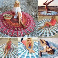 Wholesale 2017 Beach Towel Round Yoga Mat Beach pad Table Cloths Indian Mandala Round Roundie Beach Throw Tapestry Hippy Round Wall HanGypsy Cotton