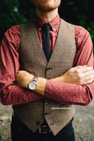 Wholesale Wedding Suit For Chinese Men - Vintage Brown tweed Vests Wool Herringbone British style custom made Mens suit tailor slim fit Blazer wedding suits for men plus size