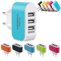 Wholesale Multiple Port Usb - Eu Us wall charger 5V 3.1A 3 Ports Multiple LED Wall USB Smart Charger Adapter adaptor for iphone 5 6 7 for samsung galaxy s6 s7 edge mp3