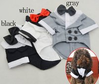 Wholesale Wholesale Apparel Bow Shirt - Pet dog apparel Bow marry suit Puppy Dog Cat shirts many colors mixed Free shipping 021