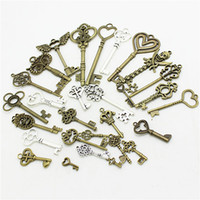 Wholesale Metal Charms Pendants Assorted - 20-45 pattern Mixed 30pcs Assorted key Charms Pendants key Metal Alloy Pendant Plated two color DIY Jewelry making D0952