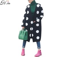 Wholesale H Sweater - Wholesale-H,SA Women Cardigans 2016 Autum Winter Casual Sweater Poncho Dot Printed Burderry Sweter Mujer Korean Long Cardigan feminino